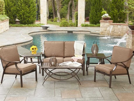 Woodard Exclusive Quick Ship Chestnut Brown Aluminum Cushion Lounge Set WRMERSET6DSE32