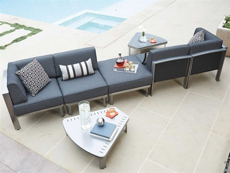 Metropolis Cushion Aluminum Sectional Lounge Set