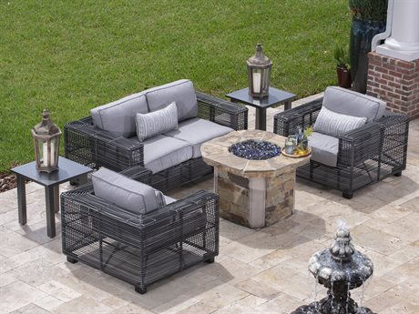 Monroe Cushion Wicker Storm Fire Pit Lounge Set