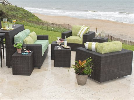 Woodard Montecito Coffee Wicker Lounge Set