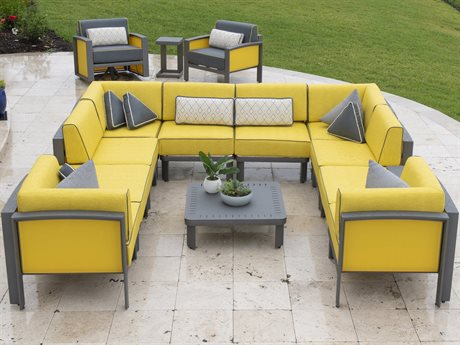 Woodard Metropolis Cushion Aluminum Sectional Lounge Set