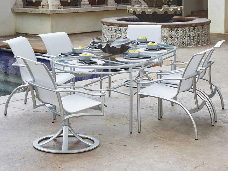 Woodard nob hill sling aluminum dining arm chair 300401 for Woodard patio furniture