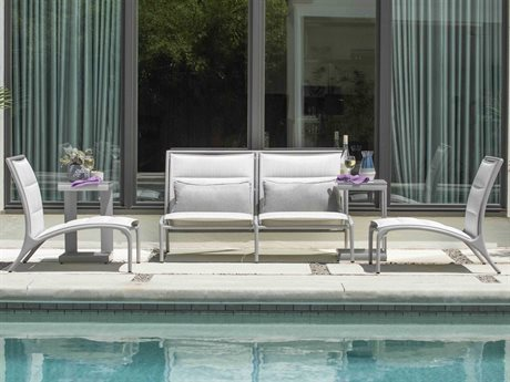 Woodard Orion Padded Sling Aluminum Lounge Set