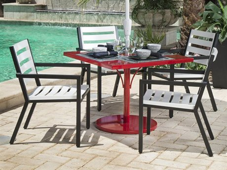 Woodard Palm Coast Slat Aluminum Dining Set