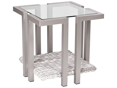 Woodard Imprint Aluminum Wicker 22 Square Glass Top End Table