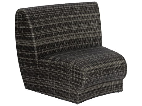 Woodard Canaveral Charcoal Gray Wicker Genie Curved Lounge Chair