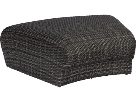 Woodard Canaveral Charcoal Gray Wicker Genie Curved Ottoman
