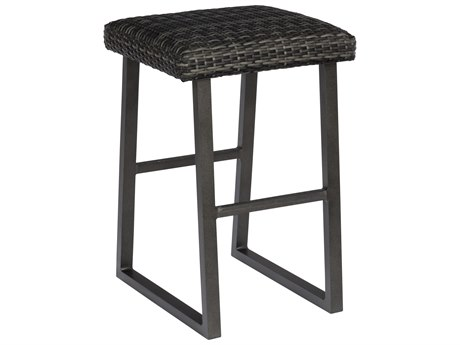 Woodard Canaveral Charcoal Gray Wicker Harper Backless Bar Stool