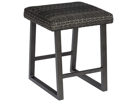 Woodard Canaveral Charcoal Gray Wicker Harper Backless Counter Stool
