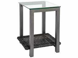 Canaveral Wicker 18 Square End Table with Glass Top