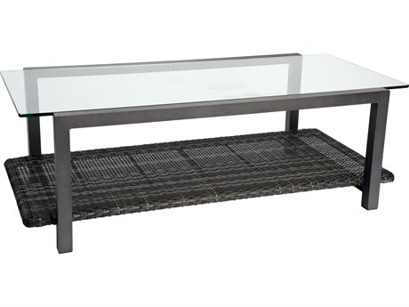 Woodard Canaveral Wicker 48 x 24 Rectangular Coffee Table with Glass Top