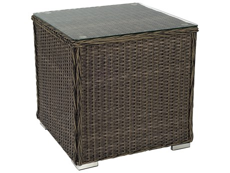 Woodard Bay Shore Wicker 24 Square Glass Top End Table