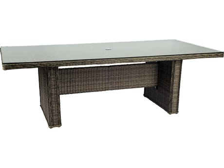 Woodard Bay Shore Wicker 92 x 43 Rectangular Glass Top Table with Umbrella Hole