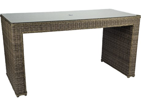 Woodard Bay Shore Wicker 79 x 34 Rectangular Glass Top Counter Table with Umbrella Hole