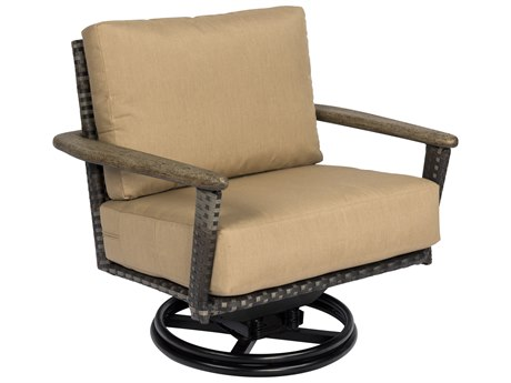 Woodard Draper Calico Wicker Swivel Rocking Lounge Chair