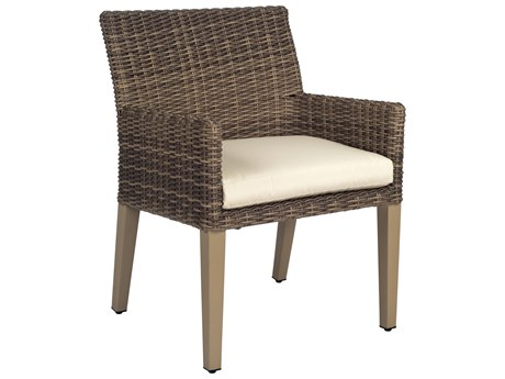 Woodard Parkway Wicker Cushion Dining Arm Chair