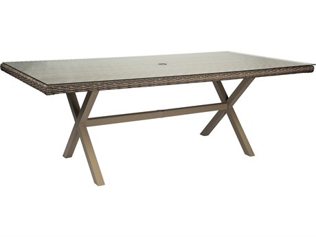 Woodard Parkway Wicker 84 x 42 Rectangular Umbrella Table with Glass top