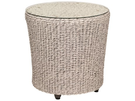Whitecraft Isabella Wicker 24 Round Glass Top End Table PatioLiving