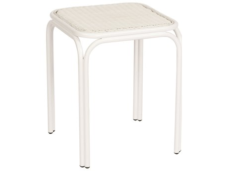 Woodard Heirloom Pristine White Wicker 18'' Wide Square End Table