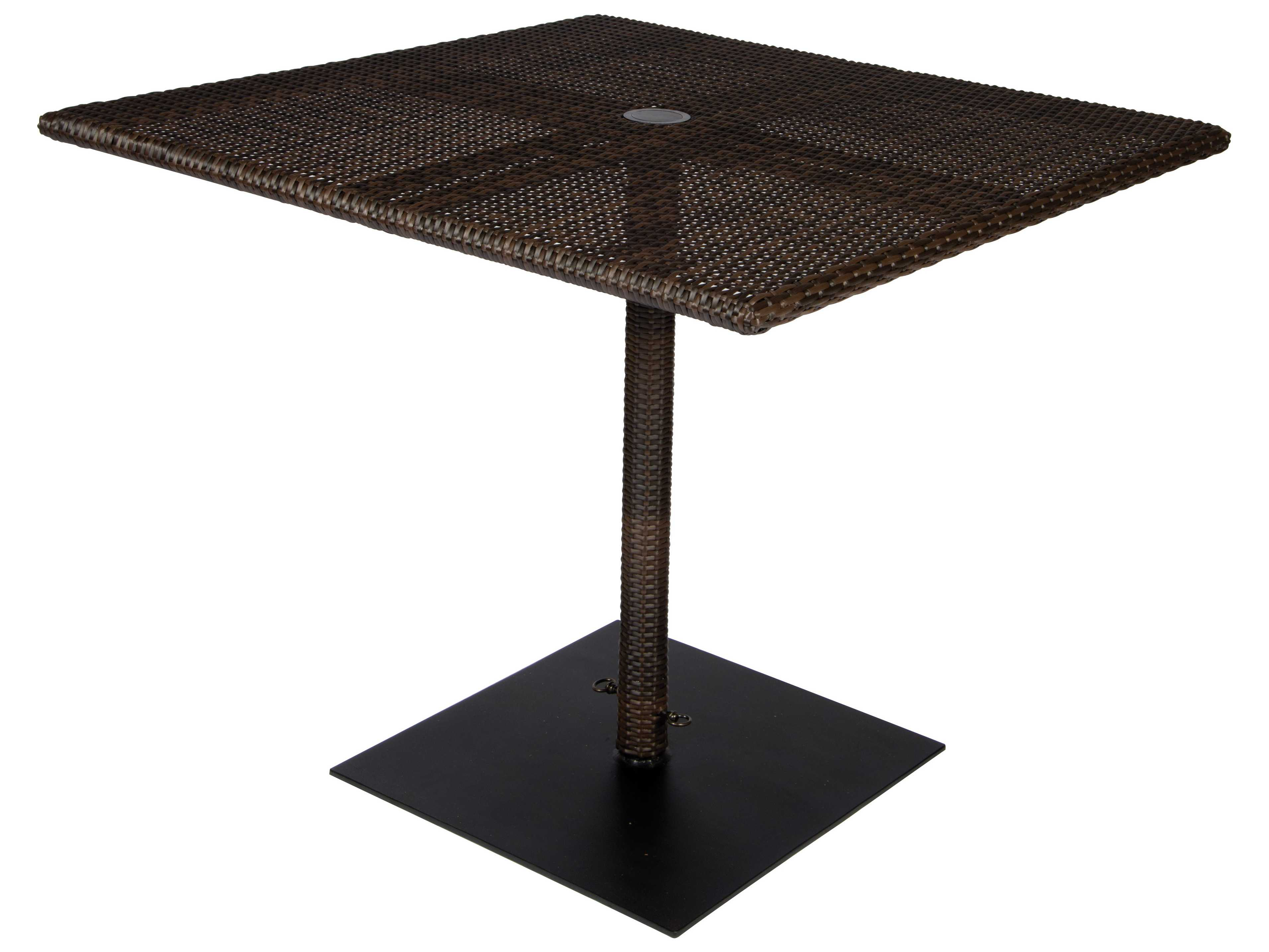 Woodard whitecraft all weather 36 square table with for Table umbrella