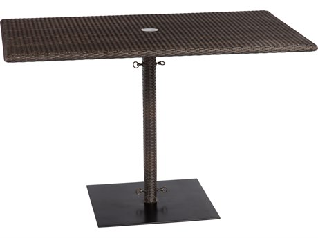 Woodard Whitecraft All-Weather 48 x 30 Rectangular Umbrella Table with weighted base