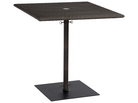 Woodard Whitecraft All-Weather Wicker 36'' Wide Square Counter Table with Umbrella Hole