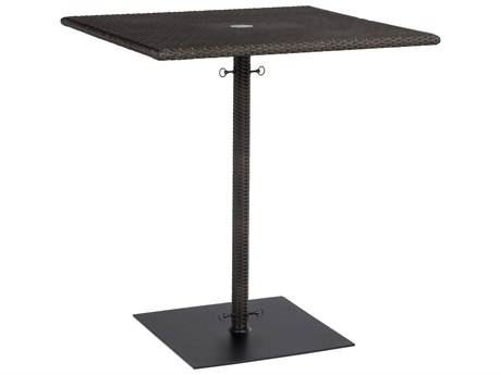 Woodard Whitecraft All-Weather Wicker 36'' Wide Square Bar Table with Umbrella Hole
