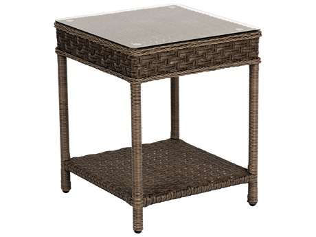 Woodard Savannah Wicker 20 Square Glass Top End Table