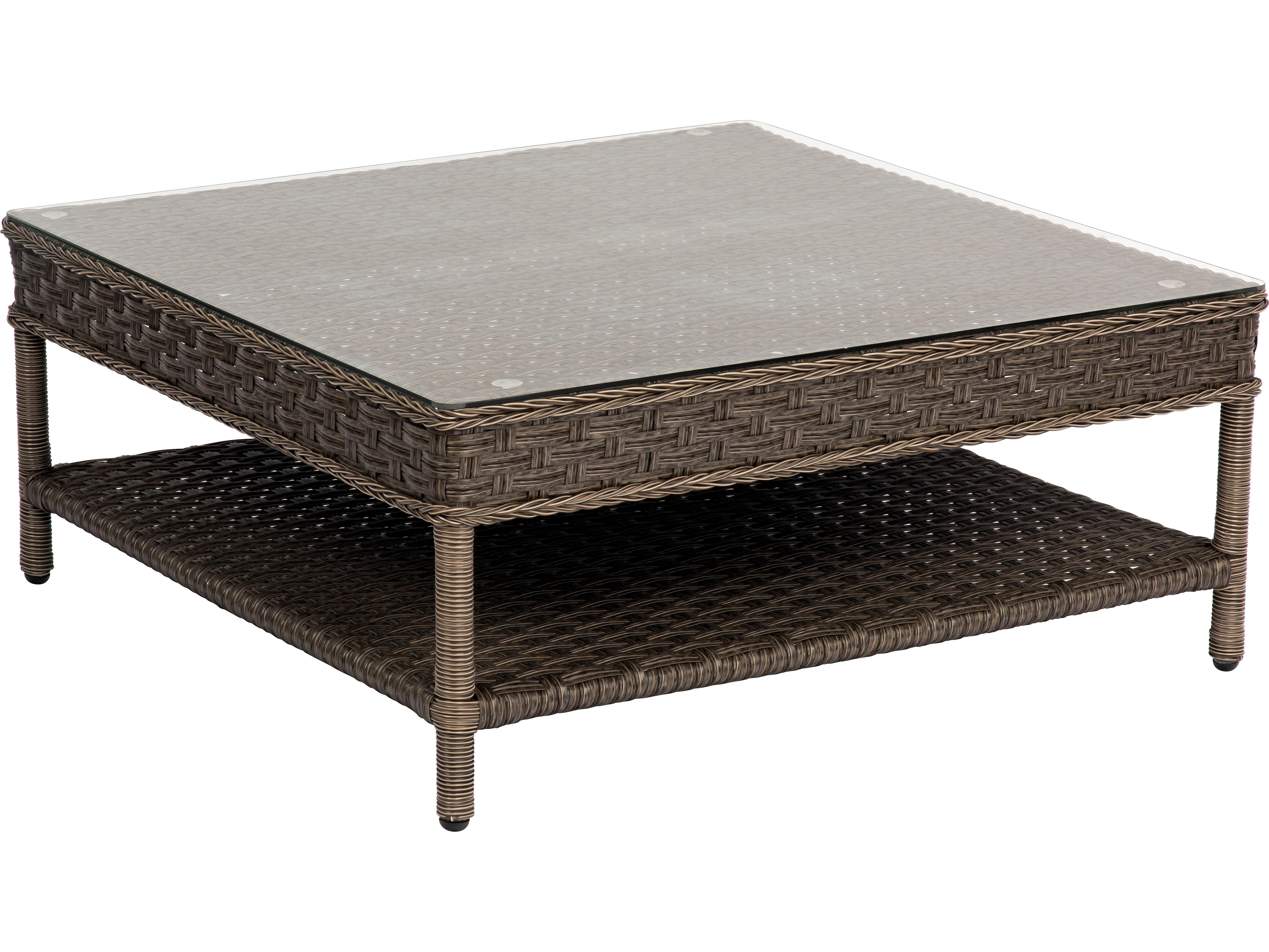 Woodard Savannah Wicker 36 Square Glass Top Coffee Table