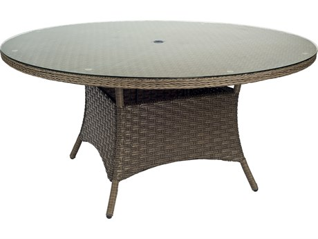 Woodard Savannah Wicker 60 Round Umbrella Table with Glass Top
