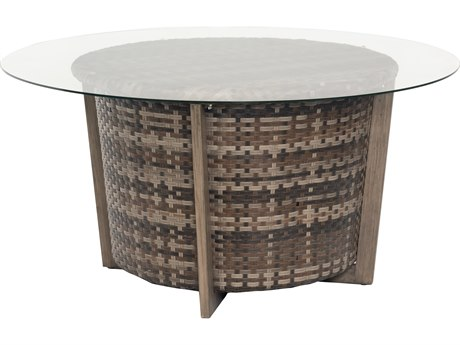 Reunion Wicker Calico 48'' Wide Round Glass Top Chat Table