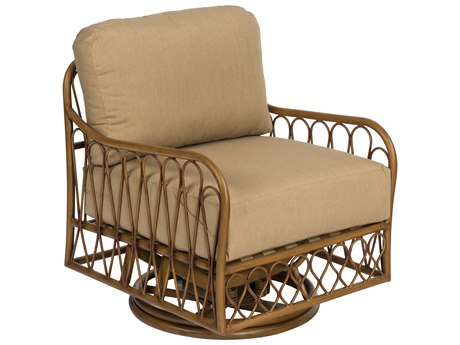 Woodard Cane Aluminum Cane Swivel Rocker Lounge Chair