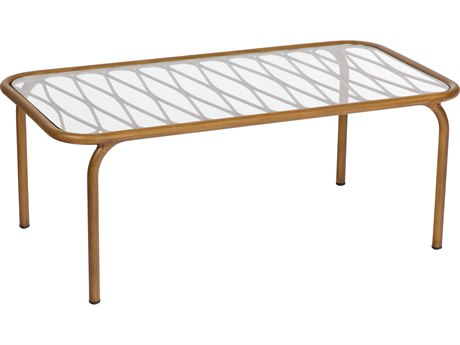 Woodard Cane Aluminum 42''W x 22''D Rectangular Coffee Table