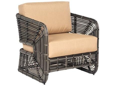 Woodard Carver Wicker Cushion Lounge Chair