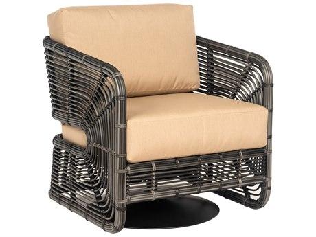 Woodard Carver Wicker Storm Swivel Lounge Chair