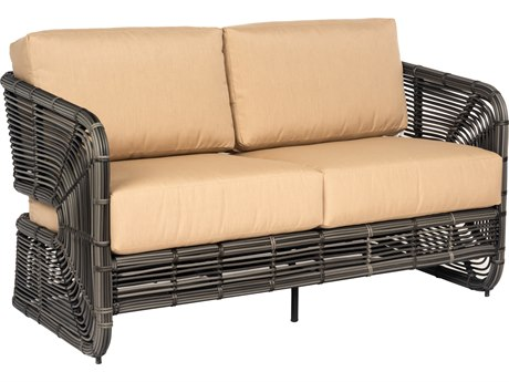 Woodard Carver Wicker Cushion Loveseat