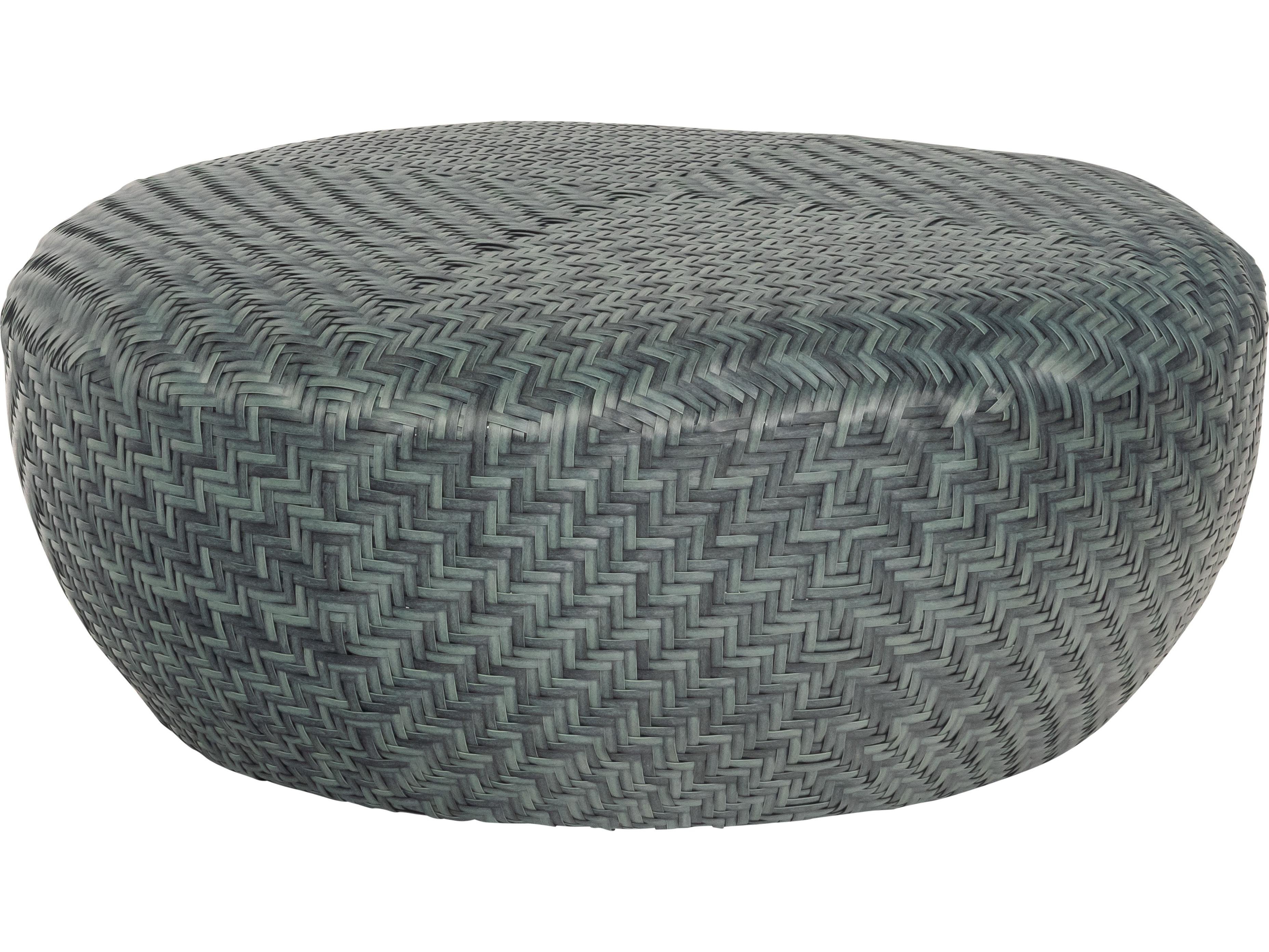 Woodard Trident Wicker Cobalt Gray 36 Wide Round Coffee Table Ottoman S680211
