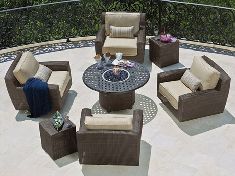 Woodard Whitecraft Saddleback Wicker Firepit Lounge Set