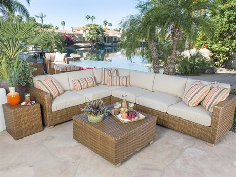 Whitecraft Sedona Red Pine Flat Wicker Sectional Lounge Set