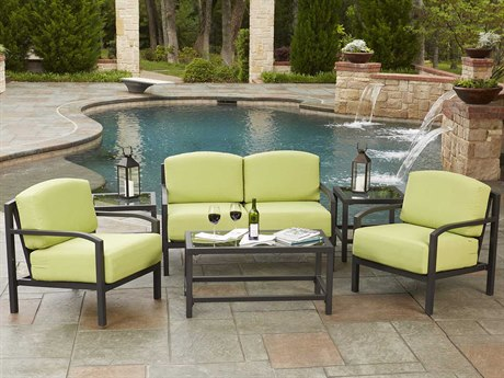 Woodard Exclusive Quick Ship Textured Pewter Aluminum Cushion Lounge Set PatioLiving