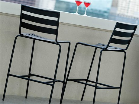Woodard Cafe Series Wrought Iron Textured Black Dining Set PatioLiving