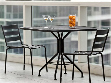 Woodard Cafe Series Wrought Iron Textured Black Dining Set