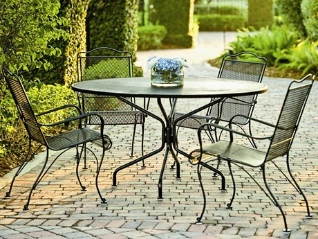 Woodard Tucson Mesh Wrought Iron Dining Set PatioLiving