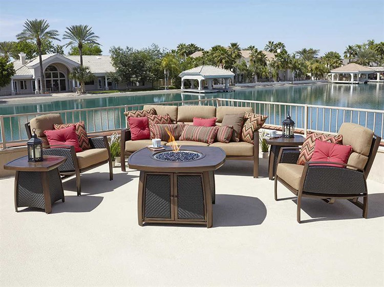 Woodard Exclusive Quick Ship Wicker Cushion Lounge Set PatioLiving