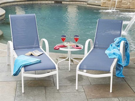 Woodard Exclusive Quick Ship White Aluminum Sling Lounge Set