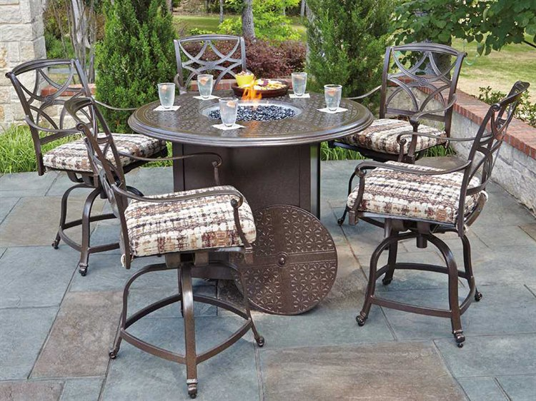 Enjoyable Woodard Wiltshire Aluminum Counter Height Fire Pit Set Pdpeps Interior Chair Design Pdpepsorg