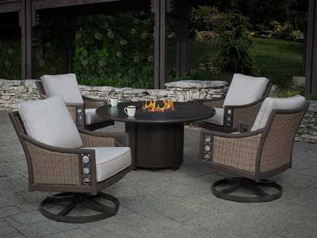 Winston Quick Ship Avignon Wicker Lounge Set with 44 Round Firepit Table