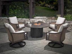 Quick Ship Avignon Wicker Lounge Set with 44 Round Firepit Table