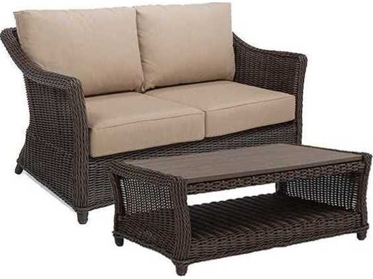 Winston Quick Ship Breeze Woven Cushion 2 Piece Loveseat Lounge Set
