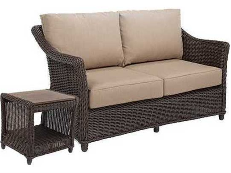 Winston Quick Ship Breeze Woven Cushion 2 Piece Loveseat Lounge Set PatioLiving